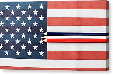 Canvas Print featuring the photograph Color Me Red White And Blue by Rebecca Cozart