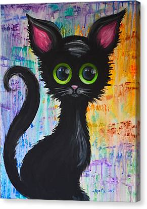 Color Rain And A Cat Canvas Print
