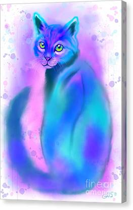 Canvas Print featuring the painting Color Wash Cat by Nick Gustafson