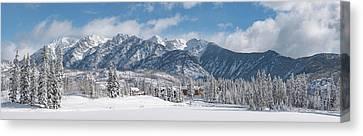 Mountain Cabin Canvas Print - Colorad Winter Wonderland by Darren White