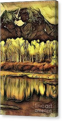Colorado Aspens - Golden Abstract Canvas Print