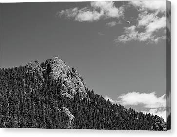 Canvas Print featuring the photograph Colorado Buffalo Rock With Waxing Crescent Moon In Bw by James BO Insogna