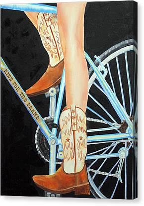 Canvas Print featuring the painting Colorado Cyclist by Jennifer Godshalk
