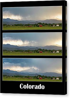 Canvas Print featuring the photograph Colorado Front Range Longs Peak Lightning And Rain Poster by James BO Insogna