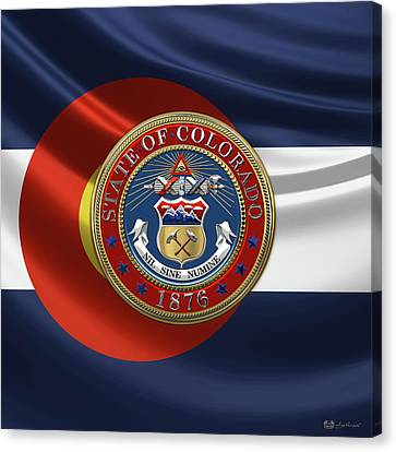 Colorado Great Seal Over Flag Canvas Print by Serge Averbukh
