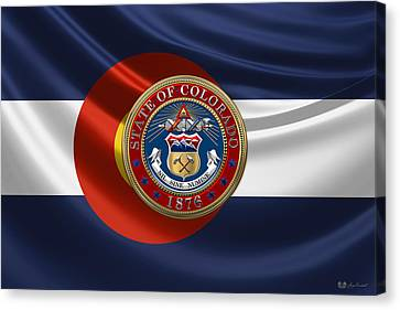 Colorado Great Seal Over State Flag Canvas Print by Serge Averbukh