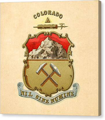 Colorado Historical Coat Of Arms Circa 1876 Canvas Print by Serge Averbukh