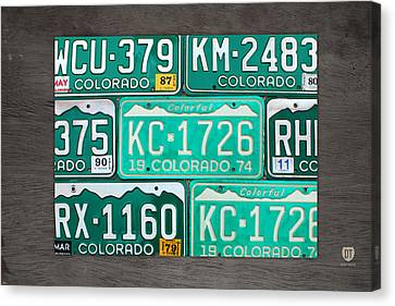 Tag Art Canvas Print - Colorado License Plate Map Recycled Car Tag Art by Design Turnpike