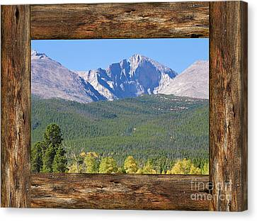 Colorado Longs Peak Rustic Wood Window View Canvas Print by James BO Insogna