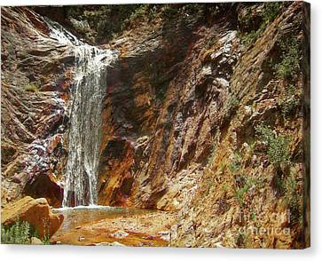 Canvas Print featuring the photograph Colorado Red Rock Waterfall by Andrea Hazel Ihlefeld