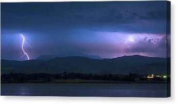 Canvas Print featuring the photograph Colorado Rocky Mountain Foothills Storm Panorama by James BO Insogna