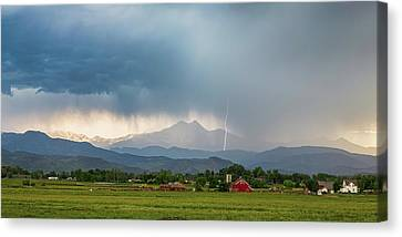 Canvas Print featuring the photograph Colorado Rocky Mountain Red Barn Country Storm by James BO Insogna