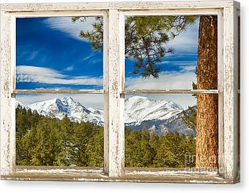 Colorado Rocky Mountain Rustic Window View Canvas Print