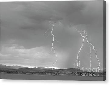 Colorado Rocky Mountains Foothills Lightning Strikes 2 Bw Canvas Print by James BO  Insogna