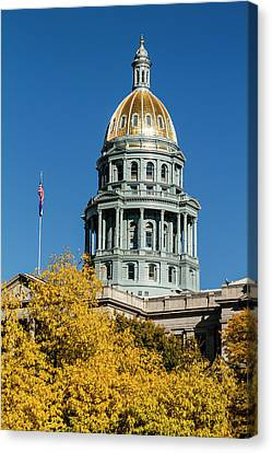 Colorado State Capitol In Denver Co Canvas Print by Teri Virbickis