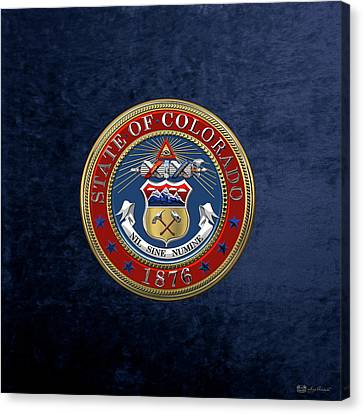 Colorado State Seal Over Blue Velvet Canvas Print by Serge Averbukh
