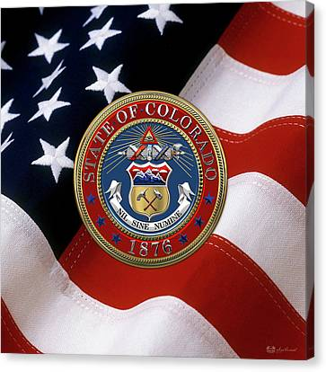Colorado State Seal Over U.s. Flag Canvas Print by Serge Averbukh