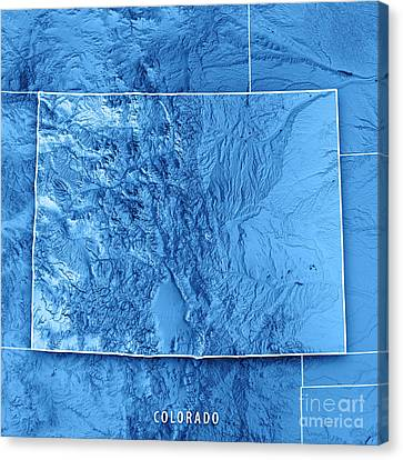 Canvas Print - Colorado State Usa 3d Render Topographic Map Blue Border by Frank Ramspott