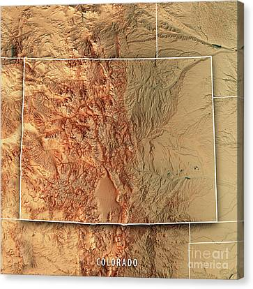 Canvas Print - Colorado State Usa 3d Render Topographic Map Border by Frank Ramspott