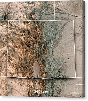 Canvas Print - Colorado State Usa 3d Render Topographic Map Neutral Border by Frank Ramspott