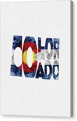 Colorado Typographic Map Flag Canvas Print