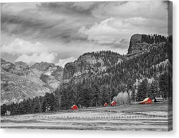 Colorado Western Landscape Red Barns Canvas Print by James BO  Insogna
