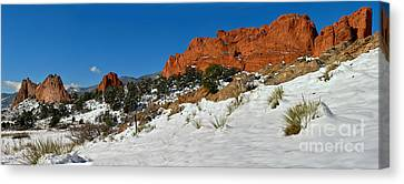 Canvas Print featuring the photograph Colorado Winter Red Rock Garden by Adam Jewell