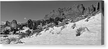 Canvas Print featuring the photograph Colorado Winter Rock Garden Black And White by Adam Jewell