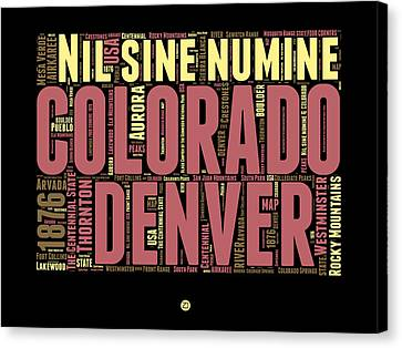 Colorado Word Cloud Map 1 Canvas Print by Naxart Studio