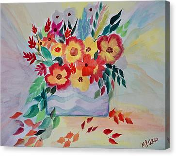 Canvas Print featuring the painting Colorburst Floral by Maria Urso