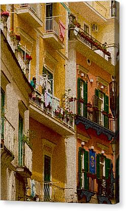 Colored Buildings Amalfi Italy Canvas Print by Xavier Cardell