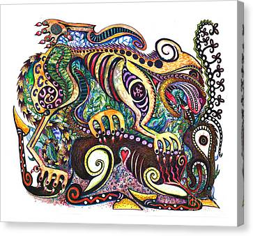 Colored Cultural Zoo D Version 2 Canvas Print