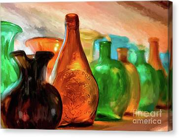 Colored Glass Bottles In The Window Canvas Print