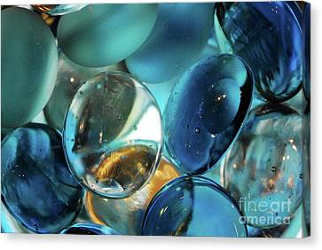 Macro Canvas Print - Colored Marbles And Water by Nancy Mueller