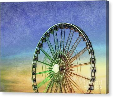 Painted Details Canvas Print - Colored Pencil Drawing Detail And Silhouette Of Ferris Wheel Wi by Eiko Tsuchiya