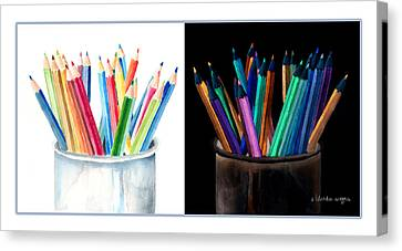 Colored Pencils - The Positive And The Negative Canvas Print by Arline Wagner