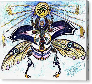 Colored Sacred Scarab In Digital Gold Canvas Print by Melinda Dare Benfield