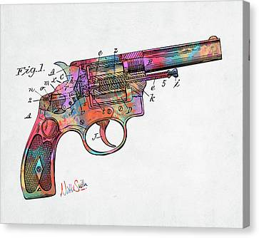 Colorful 1896 Wesson Revolver Patent Canvas Print