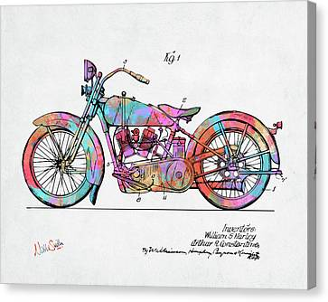 Cheerful Canvas Print - Colorful 1928 Harley Motorcycle Patent Artwork by Nikki Marie Smith