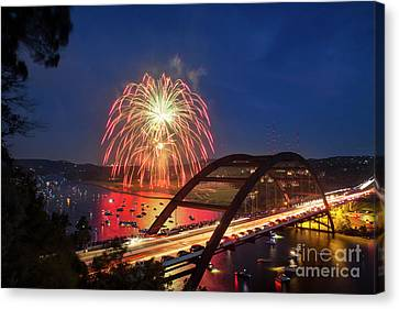 Colorful 4th Of July Fireworks Paint The Night Sky Over The 360  Canvas Print