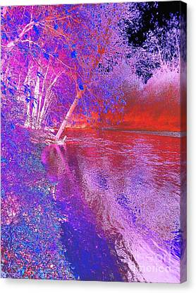 Colorful Abstract Art Of Flat Rock River Columbus Indiana Canvas Print