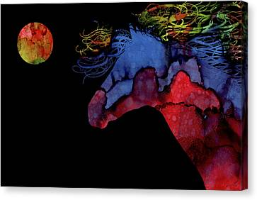Colorful Abstract Full Moon Wild Horse Painting Canvas Print