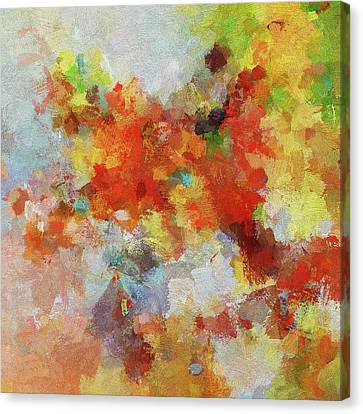 Canvas Print featuring the painting Colorful Abstract Landscape Painting by Ayse Deniz
