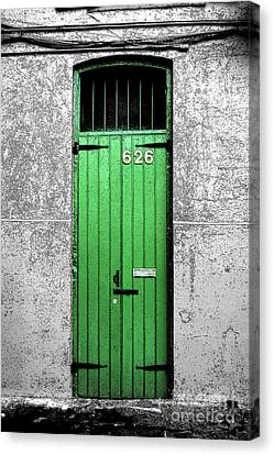 Colorful Arched Doorway French Quarter New Orleans Color Splash Black And White With Ink Outlines Canvas Print