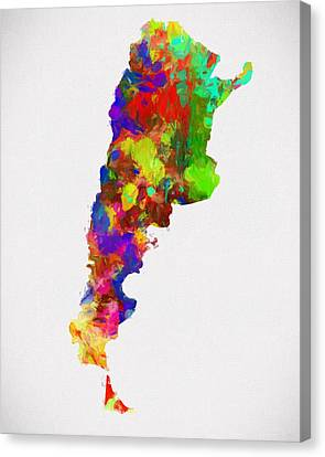 Colorful Argentina Map Canvas Print by Dan Sproul
