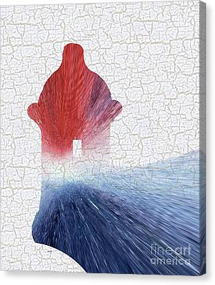 Colorful Art El Morro Blue Red And White Canvas Print by Saribelle Rodriguez