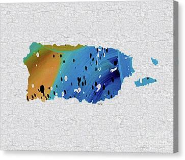 Colorful Art Puerto Rico Map Blue And Brown Canvas Print by Saribelle Rodriguez