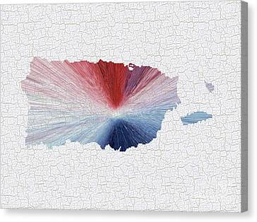 Colorful Art Puerto Rico Map Blue Red And White Canvas Print by Saribelle Rodriguez