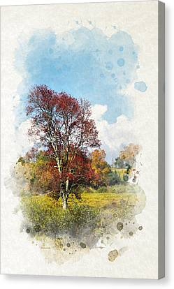 Colorful Autumn Tree Watercolor Art Canvas Print