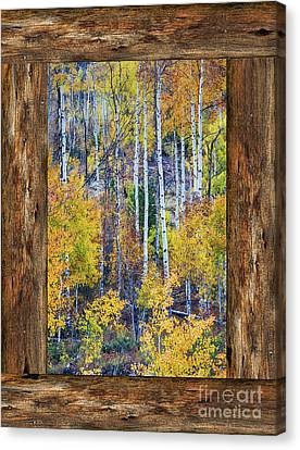 Colorful Auumn Forest Rustic Cabin Window Portrait View  Canvas Print